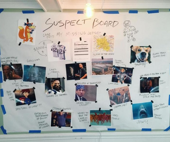 Brady unveils 'suspect board' for missing Super Bowl jersey
