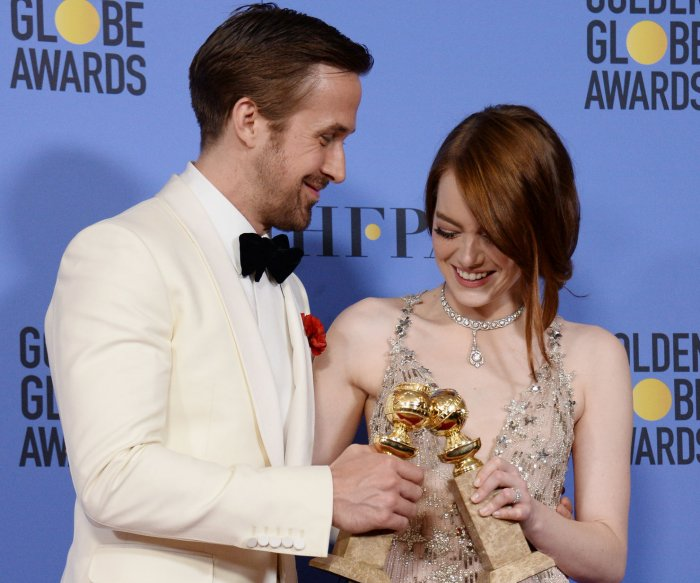 Winners backstage at the 2017 Golden Globes