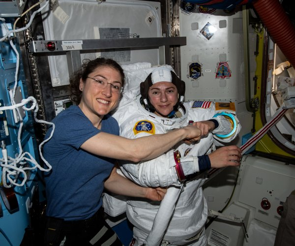 Astronauts Meir, Koch conduct 1st all-female spacewalk