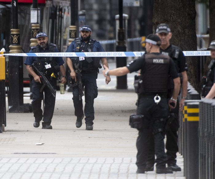 Man rams crowd, gate at London Parliament in terrorist attack