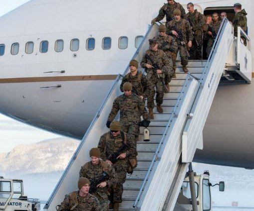 U.S. Marines train at Norway's border with Russia