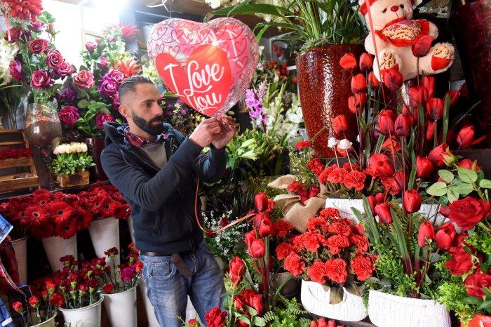 Palestinians celebrate Valentine's Day