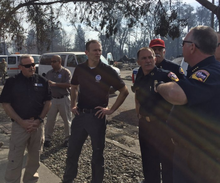 Trump praises first-responders as FEMA head tours fire-devastated California