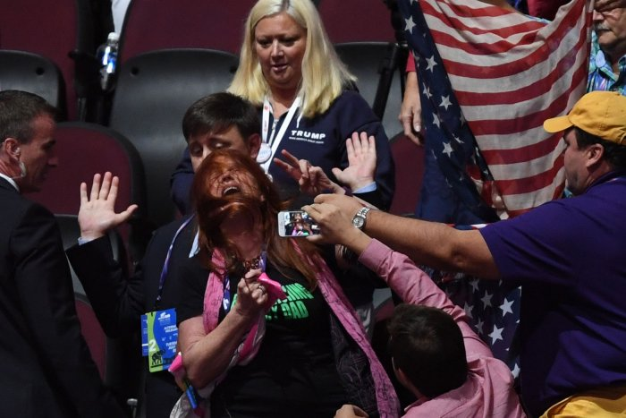 Code Pink and two men in dresses disrupt the Republican National Convention