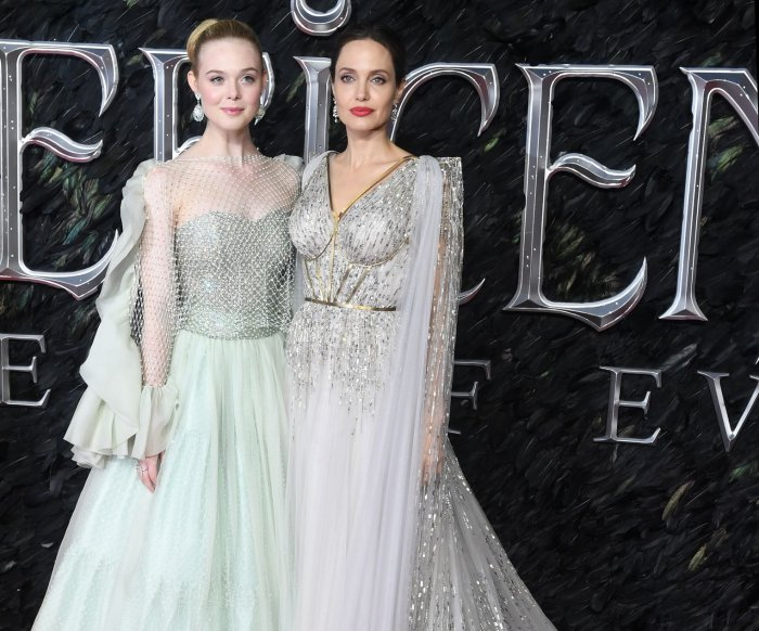 Elle Fanning, Angelina Jolie attend London 'Maleficent: Mistress of Evil' premiere