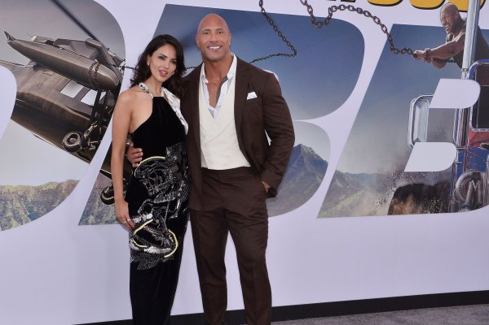 Dwayne Johnson, Eliza González attend 'Fast & Furious Presents: Hobbs & Shaw' premiere