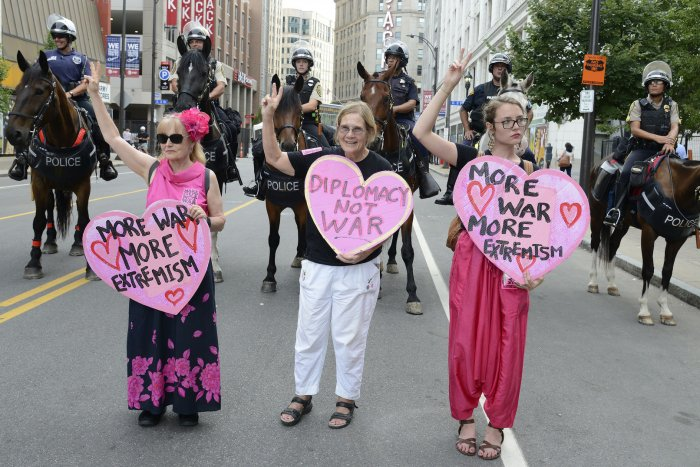 Activists protest the Republican National Convention in Cleveland