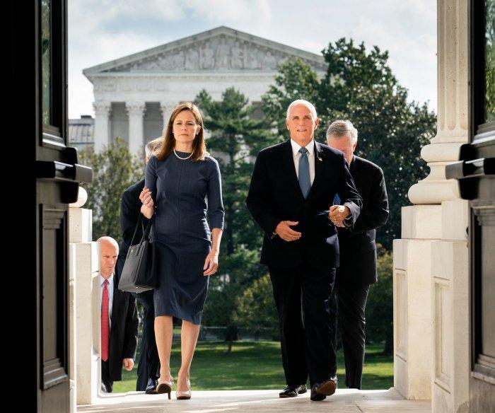 Supreme Court nominee Amy Coney Barrett meets with GOP senators