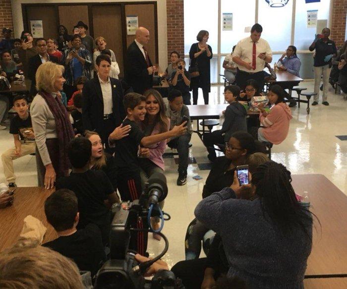 Melania Trump makes surprise visit to Detroit school