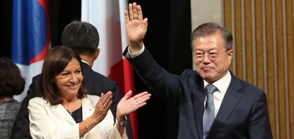 South Korean President Moon makes state visit to Paris