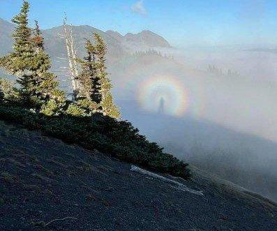 Woman captures 'Brocken spectre' on video at ridge in Washington state