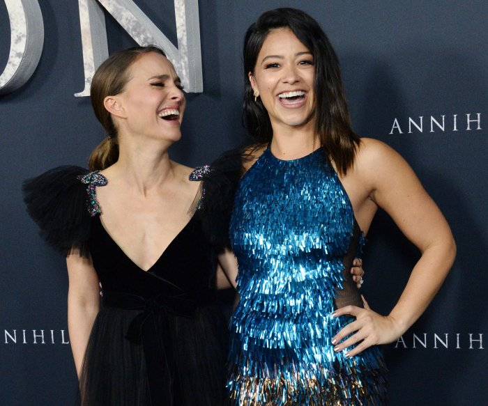 Natalie Portman, Gina Rodriguez attend the 'Annihilation' premiere