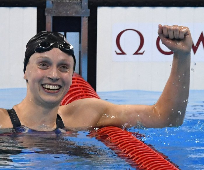 Katie Ledecky wins gold in first-ever Olympic women's 1,500-meter freestyle