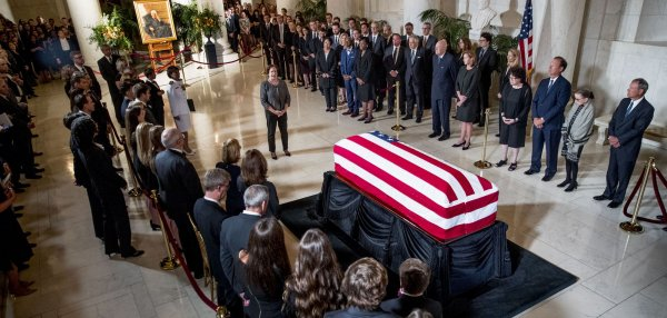 Justice Stevens lies in repose at the Supreme Court
