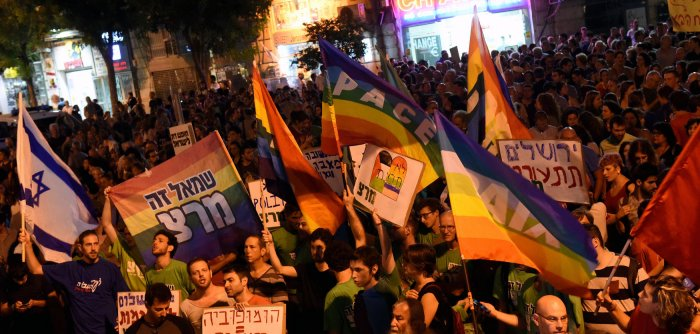 Israelis protest against Jewish terror and homophobia in Jerusalem