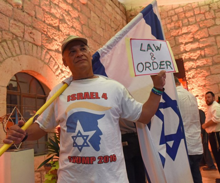 Israelis supporters of Donald Trump rally at 'Jerusalem Forever' event