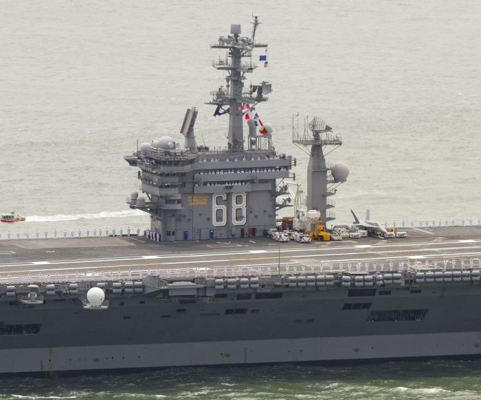 U.S. aircraft carriers conduct drills in South China Sea