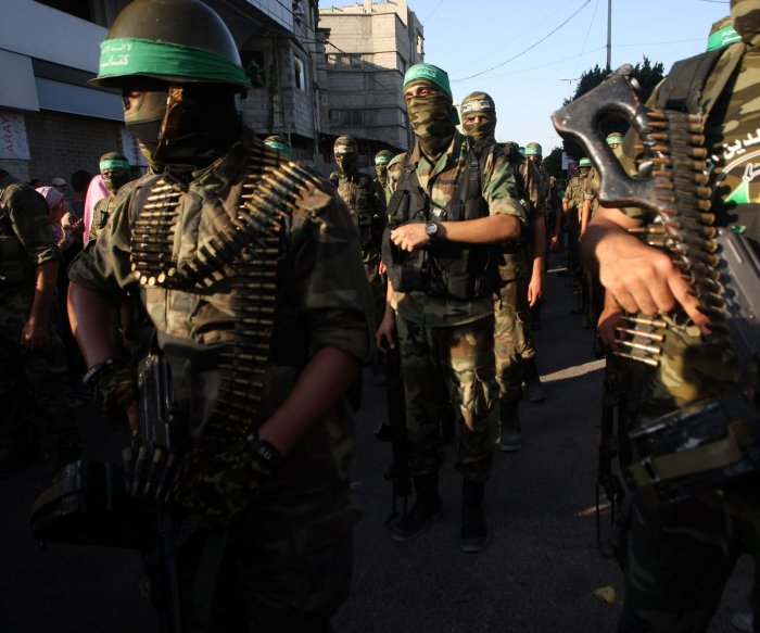 Hamas' al-Qassam Brigades hold military parade in Gaza