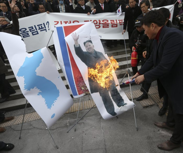 N. Korea Olympic participation sparks flag-burning in Seoul