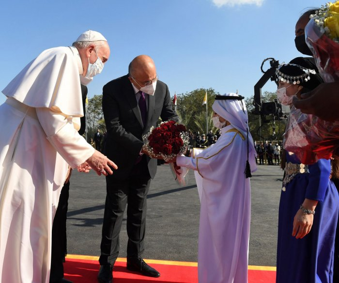Pope Francis arrives in Baghdad in first-ever papal visit to Iraq