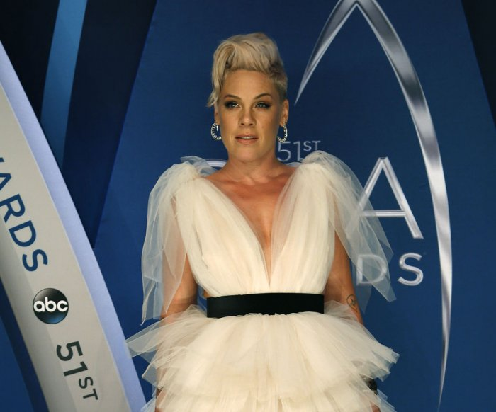 Pink wows with aerial performance of 'Beautiful Trauma' on the side of hotel at AMAs