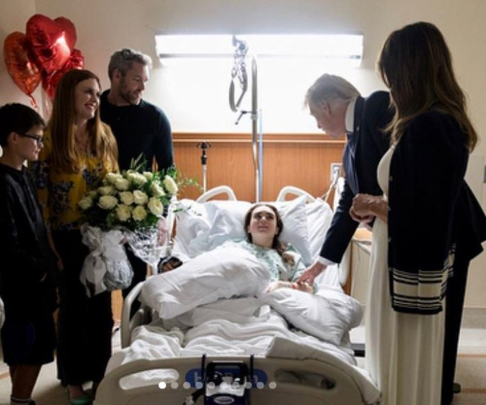 Trump visits shooting victims at hospital, first responders