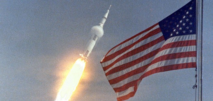 Apollo 11 blasts off for historic moon voyage