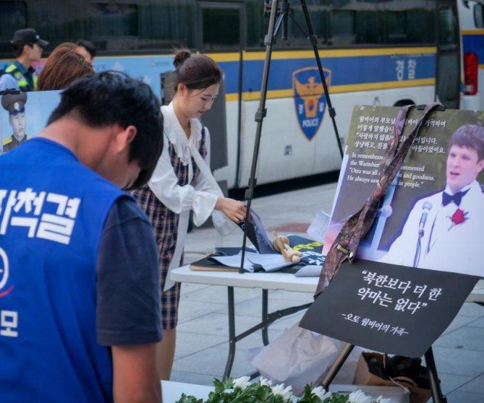 South Korean activists mark second anniversary of Otto Warmbier's death