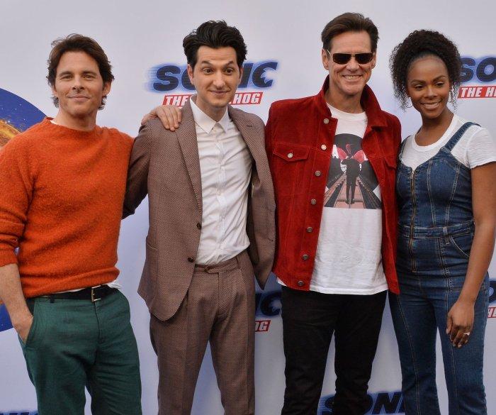 Jim Carrey, James Mardsen attend 'Sonic the Hedgehog' family event