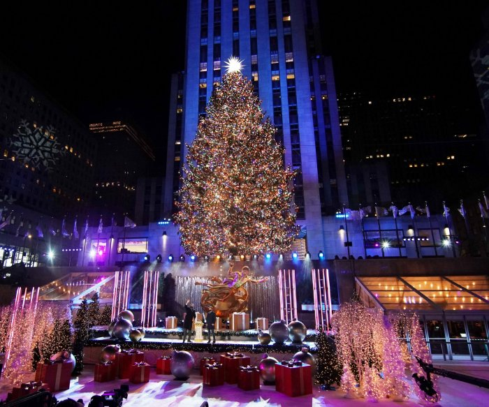 NYC lights Rockefeller Center Christmas tree with no crowds