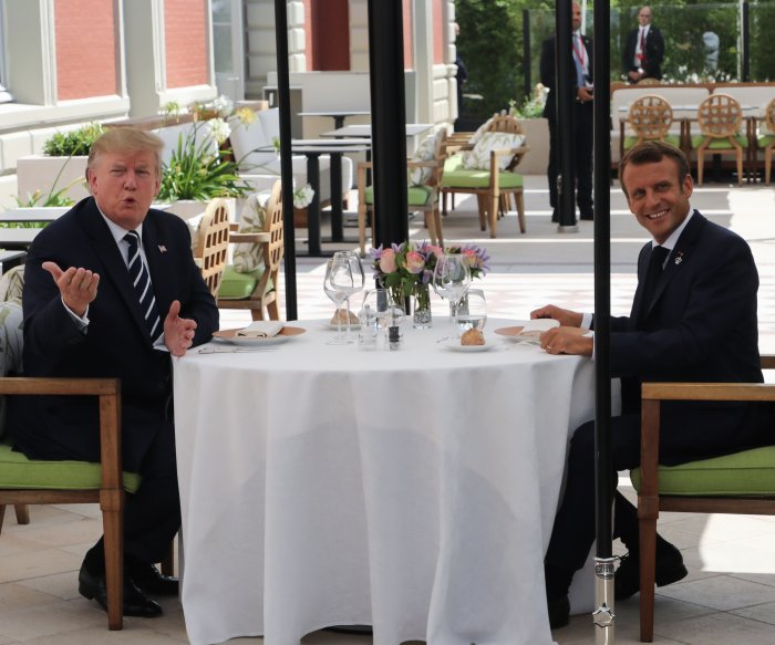 Trump arrives in France for G7 summit amid protests, meets Macron
