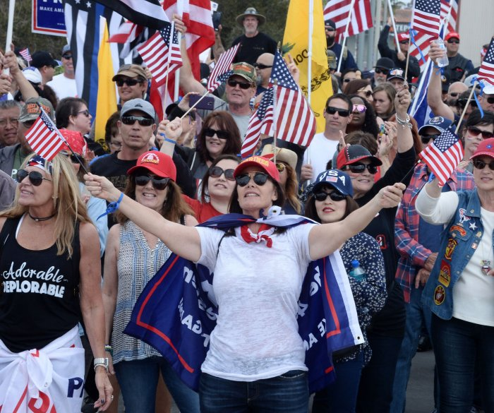 Trump supporters, foes spar at Southern California rally