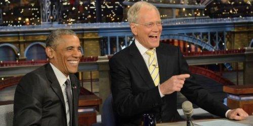 President Obama, David Letterman in retirement - playing dominoes