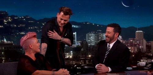 Pink meets celebrity crush Johnny Depp on 'Jimmy Kimmel Live!'