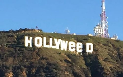 High-in-the-hills:-Famed-sign-changed-to-'Hollyweed'----again