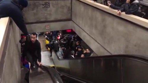 San-Francisco-commuters-climb-handrail-to-escape-broken-escalator-'chaos'