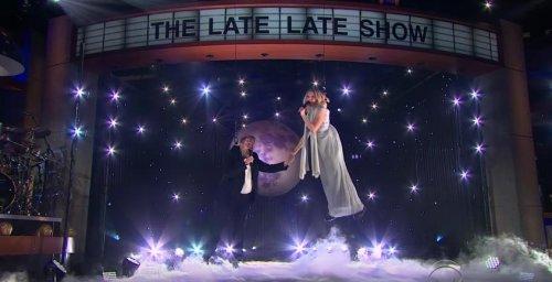 Kristen Bell, James Corden struggle to perform aerial duet