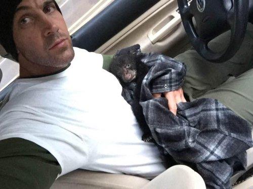 Watch: Hiker credited with saving bear cub's life