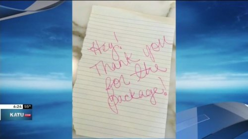 Watch: Homeowner gets 'thank you' from package thief