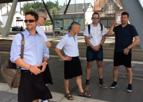 Male bus drivers in France don skirts for a day to win right to wear shorts