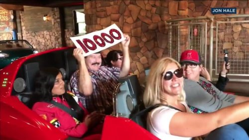 Man-takes-10,000th-spin-on-Disney's-'Cars'-ride-in-California