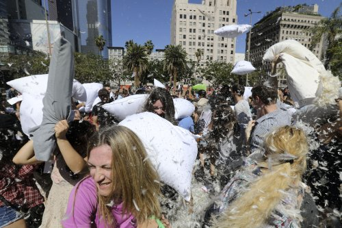 Watch: Pillow Fight Day registers an international knockout