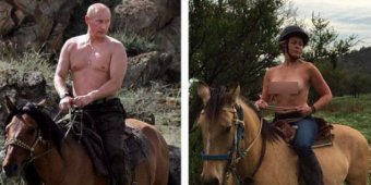 Chelsea Handler poses as topless Vladimir Putin on Instagram