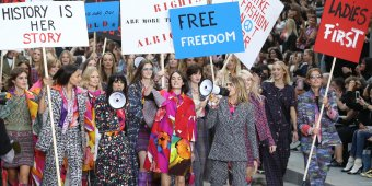 Supermodels march at Chanel's feminist rally [PHOTOS]