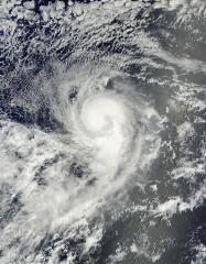 Tropical storm Karina looks like the number 9 from space
