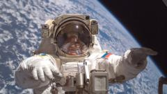 Russian cosmonauts conduct space station tasks in spacewalk