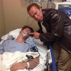 Arnold Schwarzenegger photobombs his hospitalized son Patrick Shriver