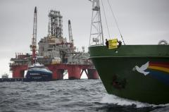 Greenpeace trailing survey ship in Barents Sea