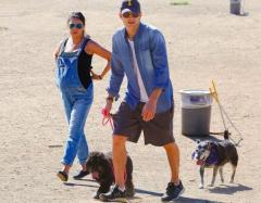 Mila Kunis spotted at dog park with Ashton Kutcher