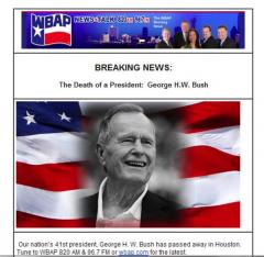 George H.W. Bush wrongly declared dead by Texas radio station